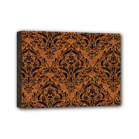 DAMASK1 BLACK MARBLE & RUSTED METAL Mini Canvas 7  x 5