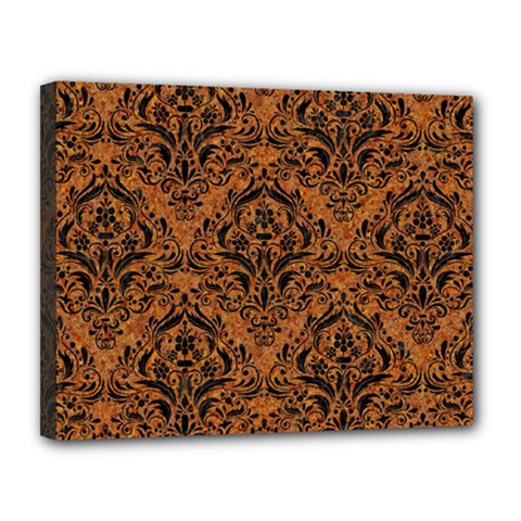 Damask1 Black Marble & Rusted Metal Canvas 14  X 11  by trendistuff