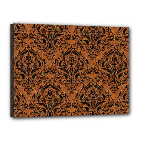 Damask1 Black Marble & Rusted Metal Canvas 16  X 12  by trendistuff