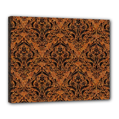 Damask1 Black Marble & Rusted Metal Canvas 20  X 16  by trendistuff