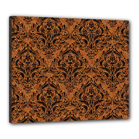 Damask1 Black Marble & Rusted Metal Canvas 24  X 20  by trendistuff