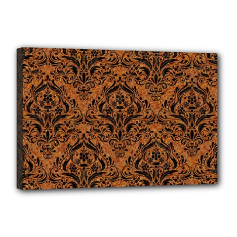 Damask1 Black Marble & Rusted Metal Canvas 18  X 12  by trendistuff