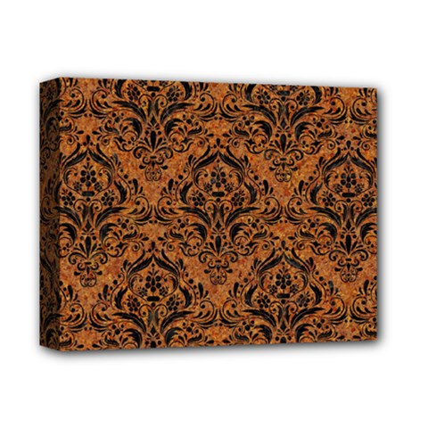DAMASK1 BLACK MARBLE & RUSTED METAL Deluxe Canvas 14  x 11