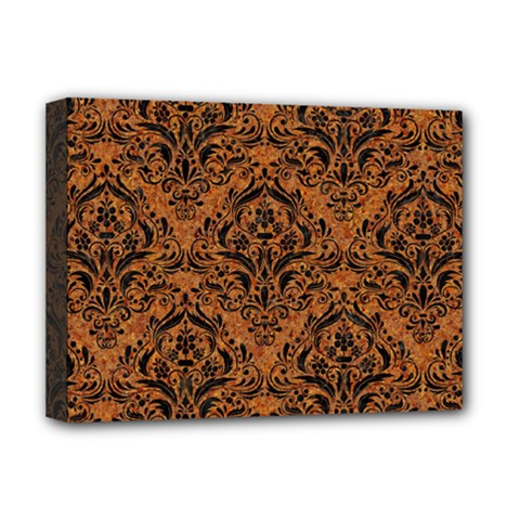 Damask1 Black Marble & Rusted Metal Deluxe Canvas 16  X 12   by trendistuff