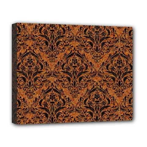 Damask1 Black Marble & Rusted Metal Deluxe Canvas 20  X 16   by trendistuff