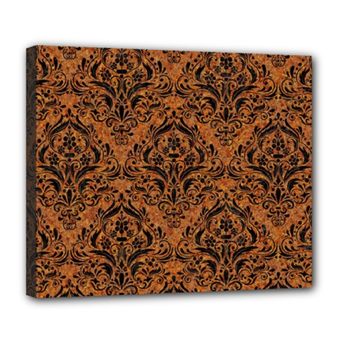 Damask1 Black Marble & Rusted Metal Deluxe Canvas 24  X 20   by trendistuff