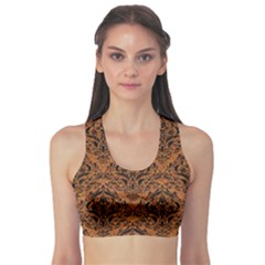 DAMASK1 BLACK MARBLE & RUSTED METAL Sports Bra