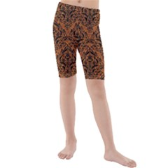 DAMASK1 BLACK MARBLE & RUSTED METAL Kids  Mid Length Swim Shorts