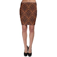 DAMASK1 BLACK MARBLE & RUSTED METAL Bodycon Skirt