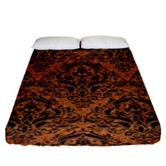 DAMASK1 BLACK MARBLE & RUSTED METAL Fitted Sheet (King Size)