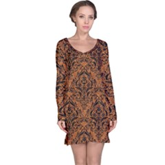 DAMASK1 BLACK MARBLE & RUSTED METAL Long Sleeve Nightdress