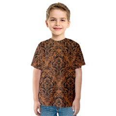 Damask1 Black Marble & Rusted Metal Kids  Sport Mesh Tee