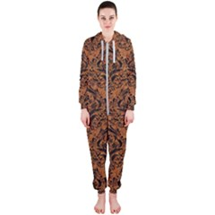 Damask1 Black Marble & Rusted Metal Hooded Jumpsuit (ladies)