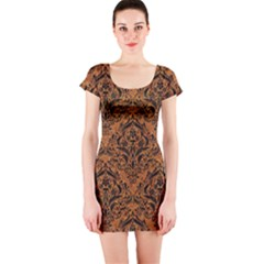 DAMASK1 BLACK MARBLE & RUSTED METAL Short Sleeve Bodycon Dress