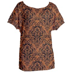 DAMASK1 BLACK MARBLE & RUSTED METAL Women s Oversized Tee