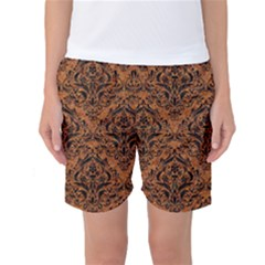 DAMASK1 BLACK MARBLE & RUSTED METAL Women s Basketball Shorts