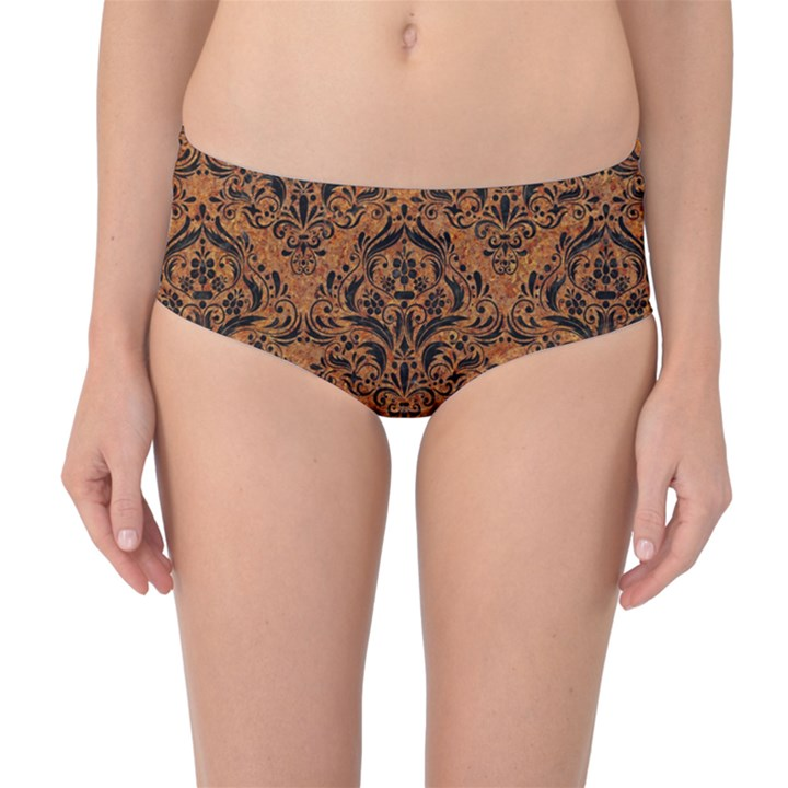 DAMASK1 BLACK MARBLE & RUSTED METAL Mid-Waist Bikini Bottoms