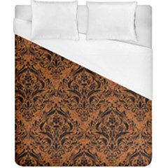 Damask1 Black Marble & Rusted Metal Duvet Cover (california King Size) by trendistuff