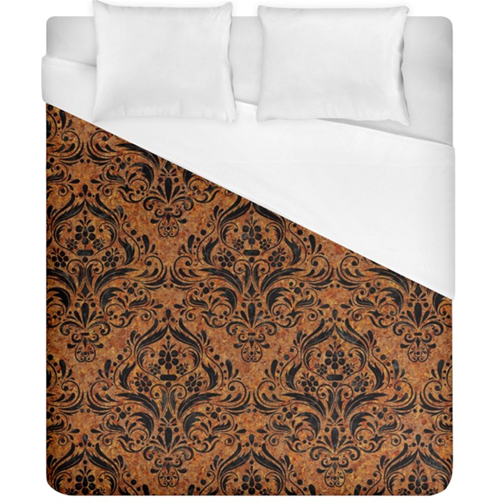 DAMASK1 BLACK MARBLE & RUSTED METAL Duvet Cover (California King Size)