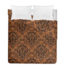 Damask1 Black Marble & Rusted Metal Duvet Cover Double Side (full/ Double Size) by trendistuff