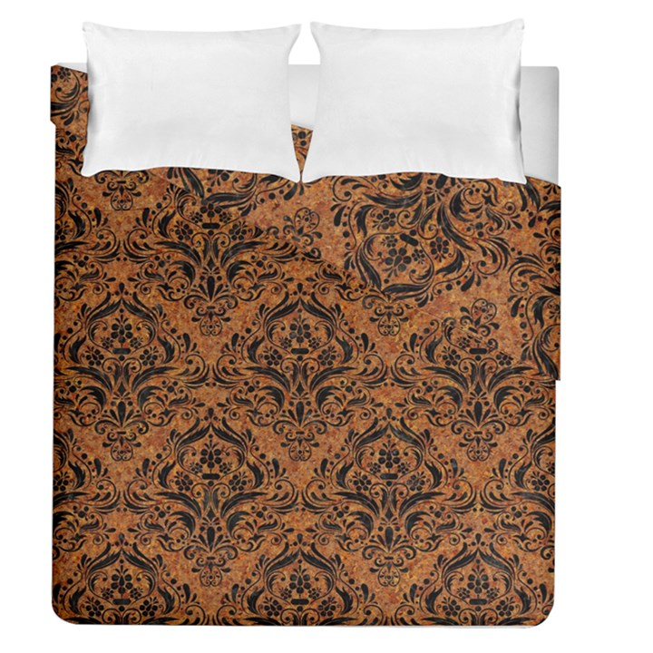 DAMASK1 BLACK MARBLE & RUSTED METAL Duvet Cover Double Side (Queen Size)
