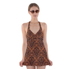 DAMASK1 BLACK MARBLE & RUSTED METAL Halter Dress Swimsuit
