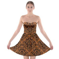 DAMASK1 BLACK MARBLE & RUSTED METAL Strapless Bra Top Dress