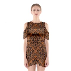 DAMASK1 BLACK MARBLE & RUSTED METAL Shoulder Cutout One Piece