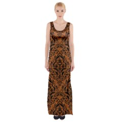 DAMASK1 BLACK MARBLE & RUSTED METAL Maxi Thigh Split Dress
