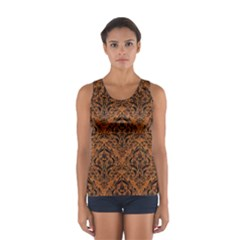 Damask1 Black Marble & Rusted Metal Sport Tank Top