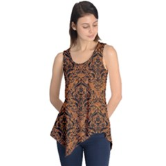 DAMASK1 BLACK MARBLE & RUSTED METAL Sleeveless Tunic