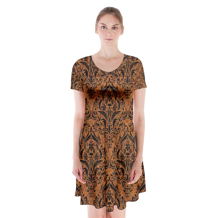 DAMASK1 BLACK MARBLE & RUSTED METAL Short Sleeve V-neck Flare Dress