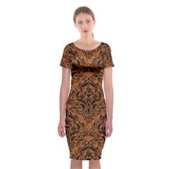 DAMASK1 BLACK MARBLE & RUSTED METAL Classic Short Sleeve Midi Dress
