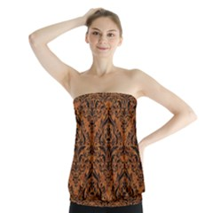 DAMASK1 BLACK MARBLE & RUSTED METAL Strapless Top
