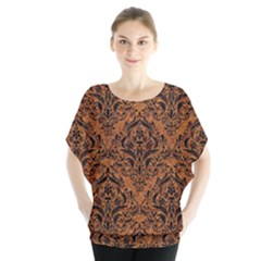 DAMASK1 BLACK MARBLE & RUSTED METAL Blouse