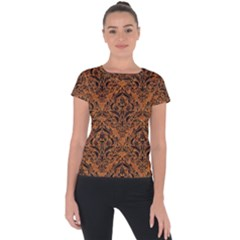 DAMASK1 BLACK MARBLE & RUSTED METAL Short Sleeve Sports Top