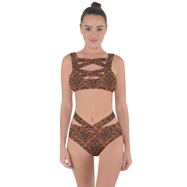 DAMASK1 BLACK MARBLE & RUSTED METAL Bandaged Up Bikini Set