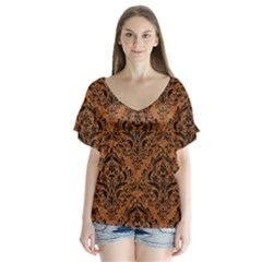 Damask1 Black Marble & Rusted Metal V Neck Flutter Sleeve Top