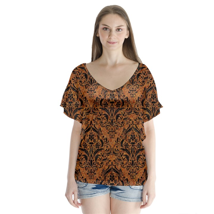DAMASK1 BLACK MARBLE & RUSTED METAL V-Neck Flutter Sleeve Top
