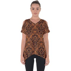 DAMASK1 BLACK MARBLE & RUSTED METAL Cut Out Side Drop Tee
