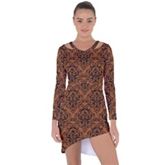 DAMASK1 BLACK MARBLE & RUSTED METAL Asymmetric Cut-Out Shift Dress