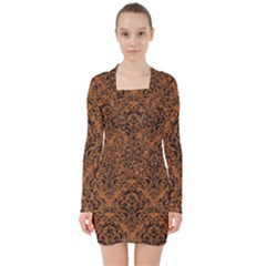 DAMASK1 BLACK MARBLE & RUSTED METAL V-neck Bodycon Long Sleeve Dress