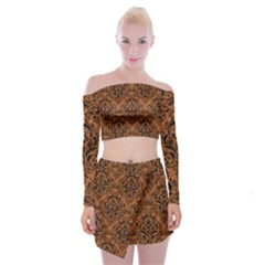 DAMASK1 BLACK MARBLE & RUSTED METAL Off Shoulder Top with Mini Skirt Set