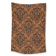 DAMASK1 BLACK MARBLE & RUSTED METAL Large Tapestry