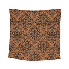 Damask1 Black Marble & Rusted Metal Square Tapestry (small) by trendistuff