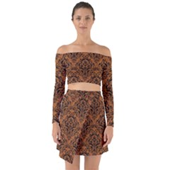 Damask1 Black Marble & Rusted Metal Off Shoulder Top With Skirt Set by trendistuff