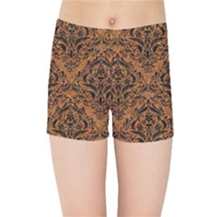 DAMASK1 BLACK MARBLE & RUSTED METAL Kids Sports Shorts