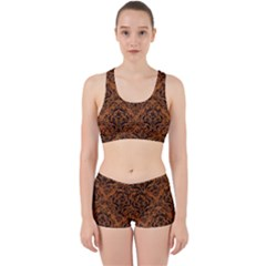 DAMASK1 BLACK MARBLE & RUSTED METAL Work It Out Sports Bra Set