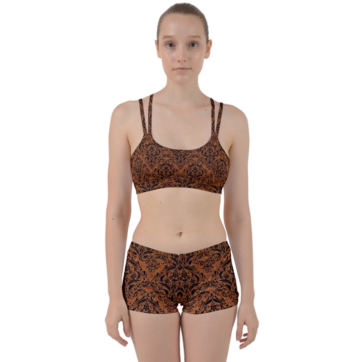 DAMASK1 BLACK MARBLE & RUSTED METAL Women s Sports Set