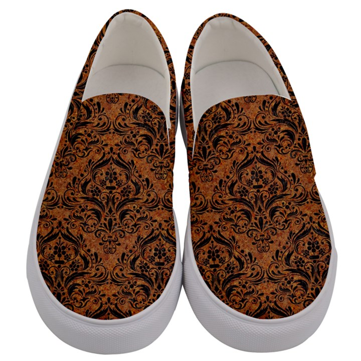 DAMASK1 BLACK MARBLE & RUSTED METAL Men s Canvas Slip Ons